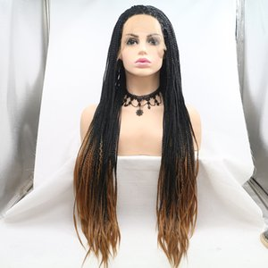 Aohai lace front Wig 2tone dark root braided wigs Synthetic Wig for Women for cosplay heat resistant fiber