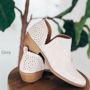 Women's Boots Short Perforated Cutout Chunky Block Stacked Heels Shoes Ankle Booties Female Ladies Autumn Shoes Plus Size