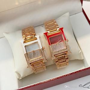 2020 Top Qualität Mode Luxuxdame Nizza Uhr Berühmte Frauen-Kleid Quarzarmbanduhr Quadrat Zifferblatt Uhren Edelstahl voller Diamanten sehen
