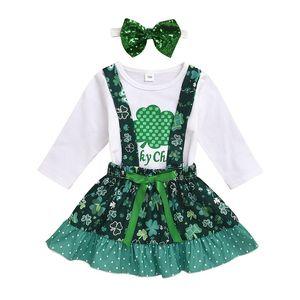 Suits bebê Cartoon Girls 10 Design Dia do St. Pattys Infant Tops Lucky One Letter Romper crianças roupa ocasional meninas malha Saias Define 060221