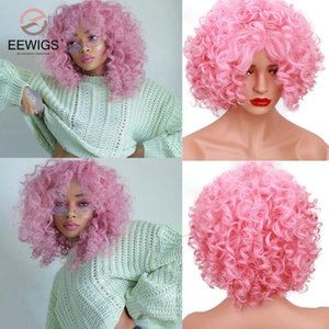 """EEWIGS 12"""" Glueless Pink Bob Wig Heat Resistant Drag Queen Synthetic Wig Cheap Short Pixie Curly Wigs for White Black Women"""