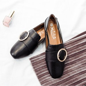 Round Buckle metal oxford flats retro small leather shoes woman 2-ways simple mules loafers casual espadrilles moccasins size 42