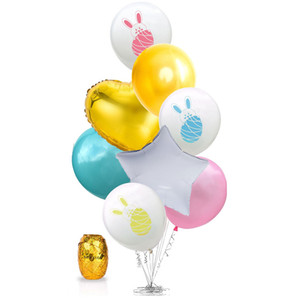 Thème de Pâques Balloon Lapin Lapin Imprimé Latex Balloon Coeur Étoile Feuille Ballons De Pâques Festival Décoration de Fête Jouet Cadeau pour Enfants