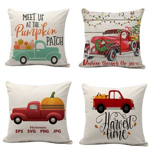 Christmas Santa Claus pillow case 45*45cm linen Cushion Cover Printed Pillow Cover home car Decorative pillowcase DH0207