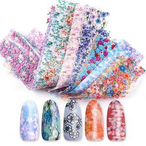 16pcs set Flower Transparent Base Nail Foil Set 20cm*3.8cm Colorful Holo Nail Art Transfer Sticker Decal Tips Dried Decor Manicure