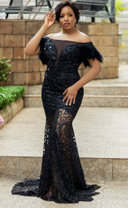 2020 Arabic Aso Ebi Black Lace Mermaid Evening Dresses Sexy Sequined Prom Dresses Cheap Formal Party Second Reception Gowns ZJ553