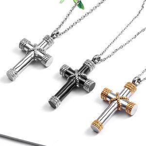 ZFVB Классический крест Кремация Ashes Urn ожерелье Keepsake ювелирные изделия из нержавеющей стали Золото Серебро Черный цвет Мемориальная Подвеска Ashes