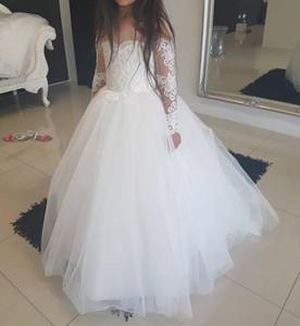 Vintage White manches longues fleurs Robes de filles pour le mariage bébé enfant robe de fête d'anniversaire robe de première communion pas cher Tulle Dentelle B12