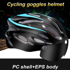 Men and Women Caps Cycling Helmet Integrally-molded Goggles with Light Over 8 Air Vents Mountain Bike Bicycle Helmet Riding Safe