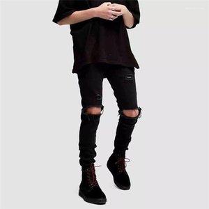 Designer Jeans ginocchio Fori alta stirata maschio matita Pantaloni Homme Magro Long Black Mens Solid