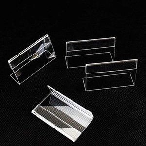 50pcs / lot acrylique T 1.3mm Effacer Bureau plastique signe Étiquette cadre Étiquette de prix Afficher Détenteurs papier carte Étiquette acrylique Porte-cadre Stand