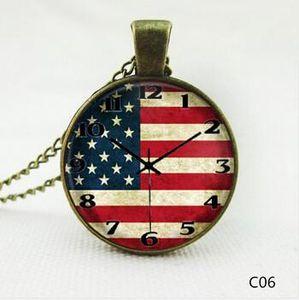 2016 US / UK Flag Часы кулон ожерелья шарма цепи Время ожерелье камень стекло Заявление Vintage ювелирные изделия из нержавеющей стали стекла кабошон цепи
