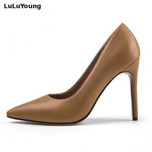 Genuine Leather Sexy High Heels Women's Shoes Pointed Toe Slip On Stiletto Pumps Wedding Shoes Y200702