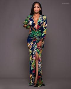 V-образные женские платья женские платья с длинным рукавом женские платья мода повседневная новая дама Maxi платье глубоко