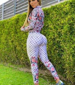 Sexy Новый дизайн Женщины Tracksuit вскользь 2 Piece Set Letter Pattern Длинные рукава майка + брюки нарядах Спортивная одежда спортивный костюм