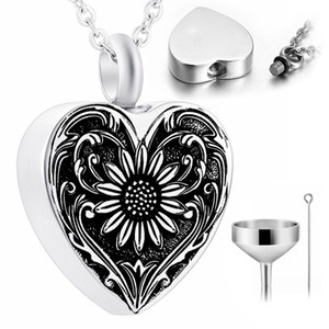Sunflower Urn Pendant Necklace Stainless Steel Cremation Jewelry for Ashes for Women Silver with Funnel Kits