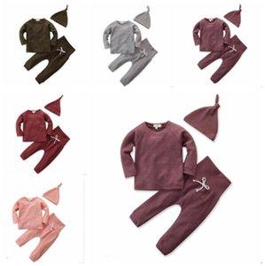 Vestiti del bambino delle ragazze dei ragazzi Solid Top Pantaloni Cappello cartoon soddisfare Bambini Outfits a maniche lunghe T-shirt pantaloni Caps 3pcs Set Primavera Autunno D45