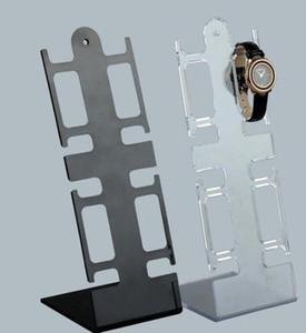 L forma de reloj de pulsera de plástico del soporte de exhibición del estante del sostenedor de la joyería pulsera de reloj de visualización, alejado Negro escaparate GGA3052-5