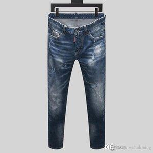 New Mens Jeans Distressed Ripped Biker Jean Slim Fit Motorcycle Denim Jeans 2020 jeans de designer pour hommes