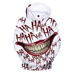 Haha Joker 3D DruckHoodie Lustiger heißen Verkauf Halloween Scary Verrücktes Lächeln Pullover Fashion Street Coats neue Unisexsportwear Kühle