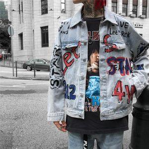 Painted Autumn Mens Mão Casual casacos de moda Jean manga comprida Graffiti Roupa Street Style Hommes Vestuário