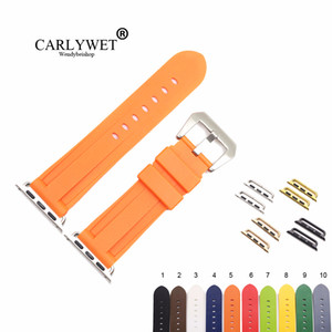 CARLYWET Fashion 38 40 42 44mm Black Orange Silicone Rubber Replacement Wrist Watchband Strap Loops