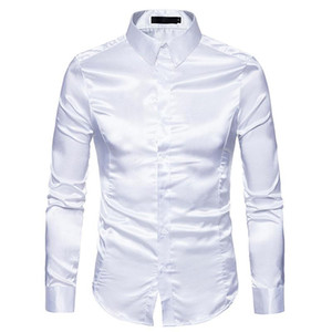 Мужская Белая Шелковая Рубашка 2018 Мода Шелковый Атлас Мужчины Социальная Рубашка Повседневная Slim Fit С Длинным Рукавом Рубашки Мужской Camisa Masculina