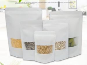500white pezzi cibo barriera dell'umidità di sacchetti con finestra trasparente Brown Kraft Paper Doypack Custodia a chiusura lampo Imballaggio di tenuta sacchetto DHL