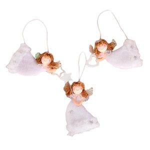 3PCS Cute Angel Dolls Natal Pingente bonito Coração-Forma Voar Anjo Plush Hanging Tree Xmas Decoração inovadoras para Home