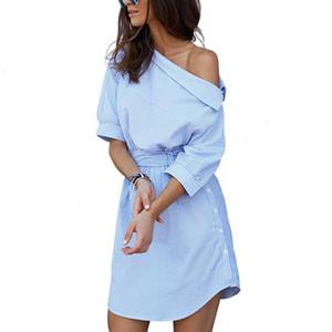 Frauen Kleidung Designer-Kleid-Frauen-Sommer-Kleid Blau gestreiftes Hemd kurzes Kleid Mini Twill sexy Seite Halbarm Strand-Kleider Sundress