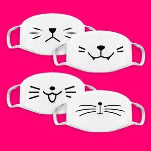 Sevimli Kore Pop Anime Ağız Maskeleri Pamuk kumaş Karikatür Desen toz geçirmez Pamuk Anti Toz Yüz Yeniden kullanılabilir Tasarımcı Maskesi RRA3115 Maskesi