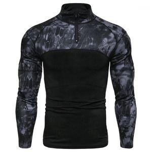 زي الملابس الموضة سحاب الموضة Panelled Stand Collar Mens Tees عادي الذكور ملابس التمويه طباعة Mens مصمم الكم الطويل