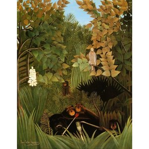 Modern Landscapes paintings Henri Rousseau The Merry Jesters hand painted animal art oil on canvas Gift