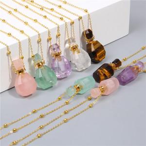 gemas naturais de pedra perfume colar de garrafa Essencial difusor de óleos Pendant Tiger Eye ametistas coração forma charme jóias