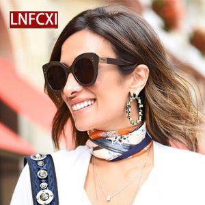 LNFCXI triangolare quadratico Rice Nail retrò femminile di lusso di disegno di marca degli occhiali da sole delle donne metallo Rivetti Cat Eye Occhiali da sole donne