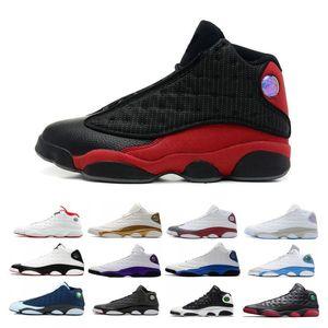 2019 Novas 13 13s Lakers Rivais Branco roxo Mens Basketball Shoe Flint Atmosfera Cap cinza e vestido Sports Sneakers