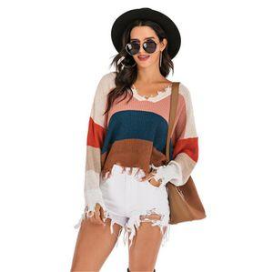 الخريف إمرأة مصمم نصب منصة كنزة الأزياء V الرقبة قمم السيدات مثير ممزق الملابس مع شبيه بجناح الخفاش كم