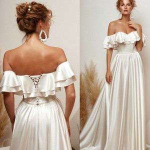 Simply Style Satin Wedding Dresses Ruffles Off Shoulder Lace Up Back Bridal Gowns Sweep Train A Line Wedding Gowns