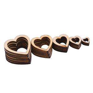 100Pcs 10 15 20 25 30mm Creative Rustic Wooden DIY Laser Cut Embellishment Craft New Hollow Love Heart Decor Ornaments