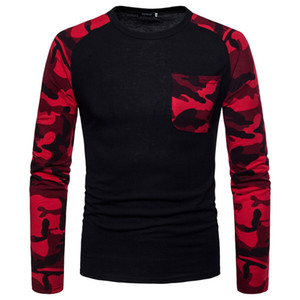 Камуфляж печати Mens конструктора Tshirts Мода тонкий карманный Щитовые Crew шеи мужская с длинным рукавом Tees Casual Самцы одежды