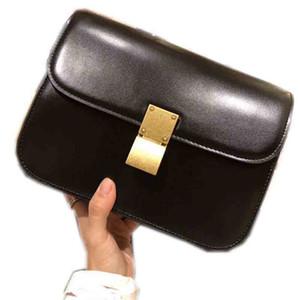 bolso de piel de vaca de alta Celine calidad diseñador de las señoras de lujo cartera bandolera personalizada de moda hebilla del bolso pequeño cuadrado tres colores 24 * 19 * 8