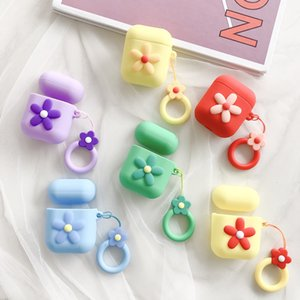 hot 6styles Flower Silicone Case Soft For Bluetooth Earphone Case Wireless Earphone cover storage case Christmas gift T2I5417