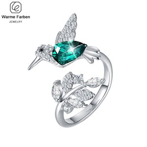 Kristaller Kadınlar Halkalar Ringen Voor Vrouwen Kuş Açık Halka Hayvan Takı Hediyeler ile 925 Gümüş Yüzük Süslenmiş
