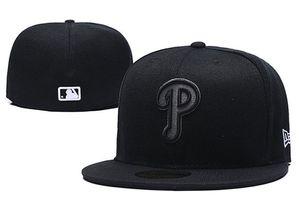 Projeto Cap Closed 2020 de Homens Phillies In Full Color Black Tamanho cabido Plano Chapéus Carta logotipo bordado Tamanho Caps Hip Hop Baseball completa