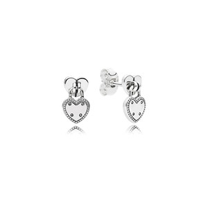 925 corazones de plata de ley pendiente pendiente original de la caja de Pandora en forma de corazón Candado Pendientes mujeres de la joyería de lujo conjuntos del perno prisionero