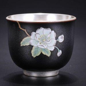 Flower Art Чайная чашка 999 Pure Silver Кубок ручной работы Office Master Маленькая чаша для чая Посуда для чая Черный Синий Красный Зеленый цвет