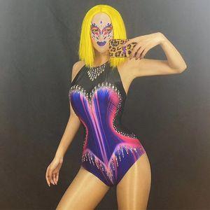 Body Singer Mask DT2293 Disfraz Rhinestone Headgear Sin mangas Stretchit Stretchit Etapa Nightclub Colorido Festival Femenino DJ KDPGJ
