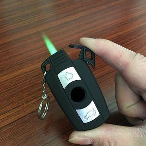 Neue ankunft kreative auto modell winddicht leichter flamme gas schlüsselanhänger männer zigarettenanzünder schlüssel schnalle mit led taschenlampe geschenk taschenlampe