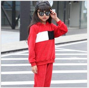 Высокое качество Мода Бутик Детская одежда Весна 2017 года с капюшоном вскользь свитер 2 цвета пэчворк дизайн для девочек Одежда Наборы OT47