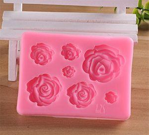 Rose Flores de silicona molde de la torta de boda del molde del chocolate de la torta que adorna las herramientas pasta de azúcar de Sugarcraft del molde de la torta